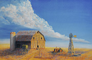 Windmill Paintings - Downtown Wyoming by Jerry McElroy