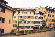 Old Houses Prints - Downtown Zurich Switzerland Print by Susanne Van Hulst