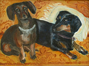 Choker Painting Prints - Doxie Duo Print by Susan Hanlon