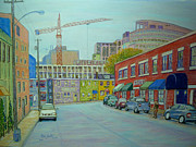 Business Pastels Framed Prints - Doyle Street Halifax Framed Print by Rae  Smith PSC