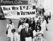 Protesters Framed Prints - Dr. Benjamin Spock Leading A March Framed Print by Everett