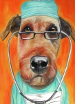Terrier Art Painting Metal Prints - Dr. Dog Metal Print by Michelle Hayden-Marsan