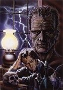 Portraits Tapestries Textiles Originals - Dr. Frankenstein by Tim  Scoggins