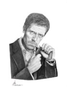 People Drawings Originals - Dr. House  Hugh Laurie by Murphy Elliott