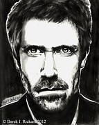 Derek Drawings - Dr. House portrait prints by Derek Rickard