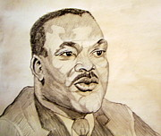 1955 Montgomery Bus Boycott Drawings Posters - Dr. Martin Luther King Jr. Poster by Donald William