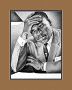African-american Drawings - Dr. Martin Luther King with digital mat by Elizabeth Scism