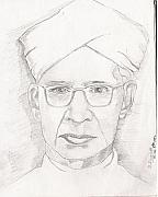 President Mixed Media Originals - Dr. S. Radahakrishnan  by SP Singh