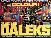 Dr. Who Acrylic Prints - Dr. Who And The Daleks, Poster, 1965 Acrylic Print by Everett