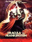 Horror Movies Prints - Dracula Vs. Frankenstein, From Left Print by Everett