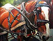 Animals Paintings - Draft Horse by Brian Simons