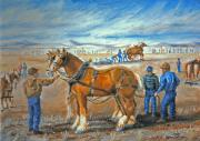 Wyoming Paintings - Draft Horse Pull by Dawn Senior-Trask