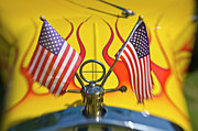 Flag Of Usa Prints - Drag Racer Detail With American Flag Print by Diane D Miller