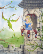 Friendly Cartoon Posters - Dragon Above the Castle Wall Poster by Cathy Cleveland