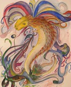 Swirls Paintings - Dragon and Ribbons by Marian Hebert