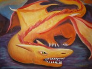 Going Green Painting Posters - Dragon Poster by Anna  Henderson