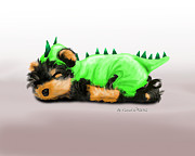 Puppy Mixed Media - Dragon baby Yorkie by Catia Cho