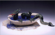 Humorous Greeting Cards Ceramics - Dragon bath by Doris Lindsey