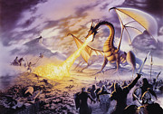 Dragon Framed Prints - Dragon Battle Framed Print by The Dragon Chronicles - Steve Re