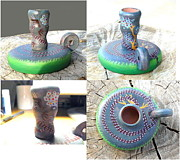 Science Fiction Sculptures - Dragon Candlestick Holder by Steamy Raimon