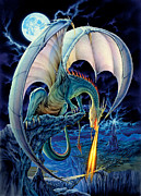 Flames Posters - Dragon Causeway Poster by The Dragon Chronicles - Robin Ko