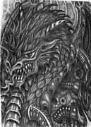 Demon Drawings - Dragon Demon by Mike Distel