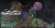 Magic Pastels Posters - Dragon Dreamz Poster by Robin Hewitt
