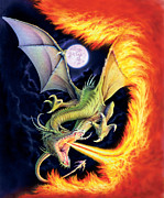 Dragon Framed Prints - Dragon Fire Framed Print by The Dragon Chronicles