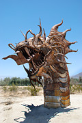 Desert Pyrography Metal Prints - Dragon in the Desert Metal Print by Mike Holder