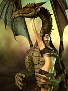 Leather Digital Art Prints - Dragon Lover Print by Daniel Eskridge