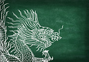 New Year Metal Prints - Dragon On Chalkboard Metal Print by Setsiri Silapasuwanchai