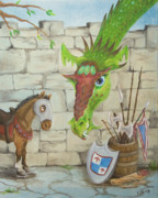 Friendly Cartoon Posters - Dragon Over the Castle Wall Poster by Cathy Cleveland