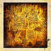 Old Paper Art Framed Prints - Dragon painting on old paper Framed Print by Setsiri Silapasuwanchai