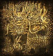 Golden Mixed Media Posters - Dragon Pattern Poster by Setsiri Silapasuwanchai