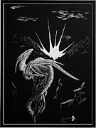 Featured Reliefs Metal Prints - Dragon Rise Metal Print by Morgan Banks
