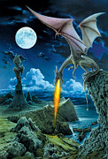 Flames Posters - Dragon Spit Poster by The Dragon Chronicles - Robin Ko