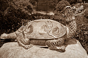 Reptiles Sculpture Posters - Dragon Turtle Figure Poster by Yurix Sardinelly
