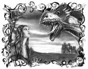 Scenic Drawings Framed Prints - Dragon Whisperer  Framed Print by Peter Piatt