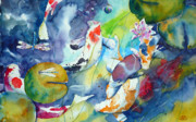Watercolour Mixed Media Originals - Dragonflies and koi fishes by Andre MEHU