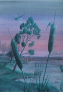 Robert Meszaros Painting Posters - Dragonflies In The Dusk Poster by Robert Meszaros