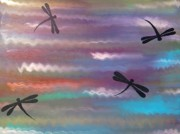 Dragonflies Originals - Dragonflies over water by Charles  Jennison