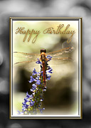 Blue Dragon Fly Prints - Dragonfly Birthday Card Print by Carolyn Marshall