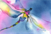 Loose Painting Posters - Dragonfly Blues Poster by Gladys Folkers