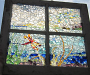Art Glass Mosaic Glass Art - Dragonfly Dreams by Anne Marie Brown