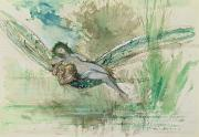 Water Color Prints - Dragonfly Print by Gustave Moreau