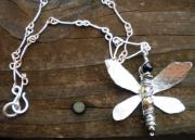 Organic Jewelry - Dragonfly necklace by Theresa Lemal