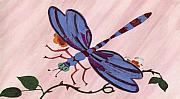 Dragon Fly Drawings Posters - Dragonfly Poster by Norman Reutter
