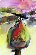 Dragonfly Paintings - Dragonfly on Flower Bud Watercolor by Ginette Fine Art LLC Ginette Callaway