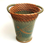 Pine Needle Baskets Art - Dragonfly Pine Needle Vase by Lisa Sowers