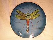 Dragonfly Glass Art - Dragonfly Plate by Jamie Myers